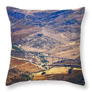 Colorful Patchwork Of Andalusian Fields. Spain Throw Pillow