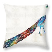 Colorful Peacock Art By Sharon Cummings Throw Pillow