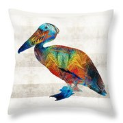 Colorful Pelican Art By Sharon Cummings Throw Pillow