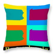 Colorful Pennsylvania Pop Art Map Throw Pillow