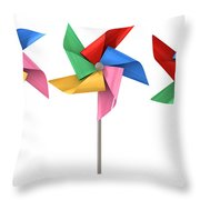 Colorful Pinwheels Isolated Throw Pillow