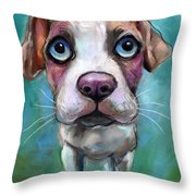 Colorful Pit Bull Puppy With Blue Eyes Painting  Throw Pillow by Svetlana Novikova