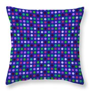 Colorful Polka Dots On Blue Fabric Background Throw Pillow