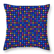 Colorful Polka Dots On Dark Blue Fabric Background Throw Pillow