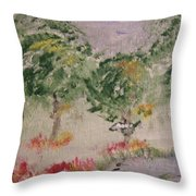 Colorful Pond Throw Pillow