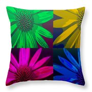 Colorful Pop Art Flowers Throw Pillow