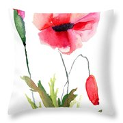 Colorful Poppy Flowers Throw Pillow
