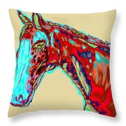 Colorful Race Horse Throw Pillow