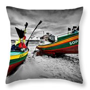 Colorful Retro Ship Boats On The Beach Throw Pillow