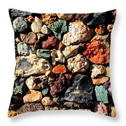 Colorful Rock Wall With Border Throw Pillow