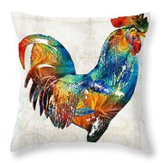 Colorful Rooster Art By Sharon Cummings Throw Pillow