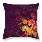 Colorful Roses Background Throw Pillow