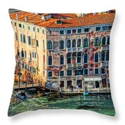 Colorful Rotten Palace In Venice Italy  Throw Pillow