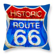 Colorful Route 66 Throw Pillow