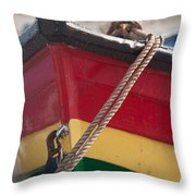 Colorful Rowing Boat Bow Close Up Throw Pillow