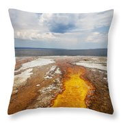 Colorful Runoff From Black Pool Leads To Yellowstone Lake Throw Pillow