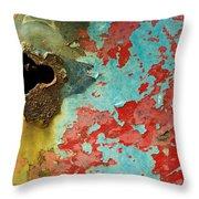 Colorful Rusty Door Throw Pillow