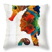 Colorful Seahorse Art By Sharon Cummings Throw Pillow