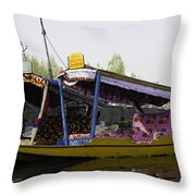 Colorful Shikaras Tied Up Next To The Dal Lake In Srinagar Throw Pillow