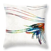 Colorful Shrimp Art By Sharon Cummings Throw Pillow