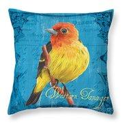 Colorful Songbirds 4 Throw Pillow