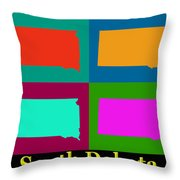Colorful South Dakota Pop Art Map Throw Pillow