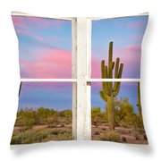 Colorful Southwest Desert Window Art View Throw Pillow