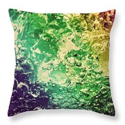 Colorful Splashing Pouring Water With Bubbles Throw Pillow