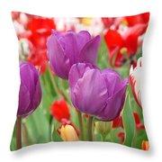 Colorful Spring Tulips Garden Art Prints Throw Pillow