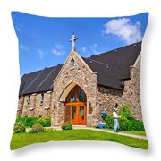 Colorful Stone Catholic Church In North Bay Of Lake Nipissing-on Throw Pillow