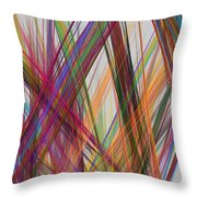 Colorful Straight Line Fractal Flame Throw Pillow
