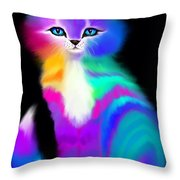 Colorful Striped Rainbow Cat Throw Pillow