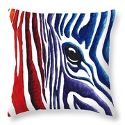 Colorful Stripes Original Zebra Painting By Madart Throw Pillow