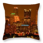 Colorful Summer Night In Pittsburgh Throw Pillow