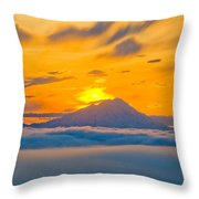 Colorful Sunset Behind Mt. Redoubt And Throw Pillow