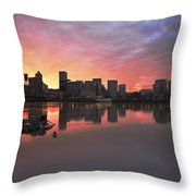 Colorful Sunset Over Portland Downtown Waterfront Throw Pillow