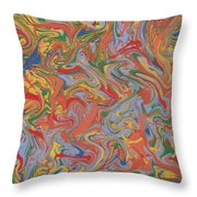 Colorful Swirls Drip Painting Throw Pillow