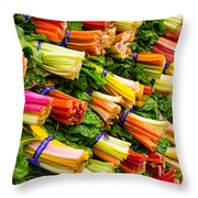Colorful Swiss Chard Throw Pillow
