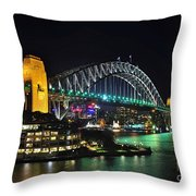 Colorful Sydney Harbour Bridge By Night 3 Throw Pillow