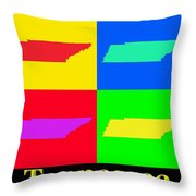 Colorful Tennessee Pop Art Map Throw Pillow