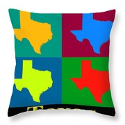 Colorful Texas Pop Art Map Throw Pillow