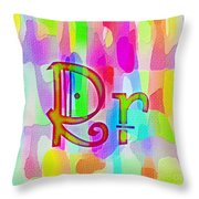 Colorful Texturized Alphabet Rr Throw Pillow