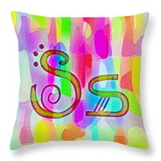 Colorful Texturized Alphabet Ss Throw Pillow