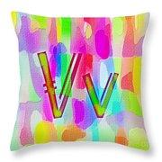 Colorful Texturized Alphabet Vv Throw Pillow