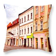 Colorful Town Homes Throw Pillow