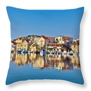 Colorful Town Of Tribunj Waterfront Throw Pillow