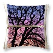 Colorful Tree White Farm House Window Portrait View Throw Pillow