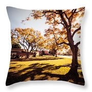 Colorful Trees Of Long Beach In The Autumn Throw Pillow