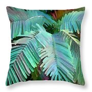 Colorful Tropical Leaves In The Jungle Throw Pillow