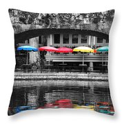 Colorful Umbrellas Reflected In Riverwalk Under Foot Bridge San Antonio Texas Color Splash Digital Throw Pillow